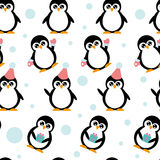 Pattern with penguins. Children's winter pattern with little cartoon penguins vector illustration
