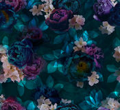 Pattern of peonies in emerald-purple shades royalty free stock photo