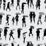 Pattern of people in the rain Stock Photos