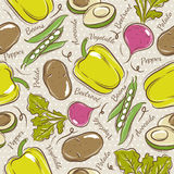 Pattern with  pepper, beans, potato and avocado Stock Photography