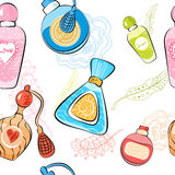 Pattern with perfume bottles Stock Photos