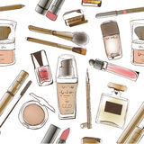 Pattern of perfumes and cosmetics Royalty Free Stock Photography