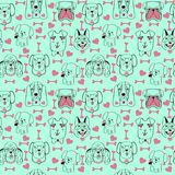 Pattern with pet cute dogs trendy background in sketch Stock Image