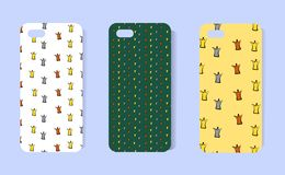 Pattern for a phone case with a small sketch of crowns. Funny design for the cover. Concept for princess. Cartoon style. vector illustration