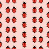 Pattern with a picture of ladybirds with a mirror shadow on a red background. Vector. Flat. Pattern with a picture of ladybirds with a mirror shadow on a red Royalty Free Stock Image