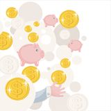 Pattern with piggy bank and money. Stock Photo