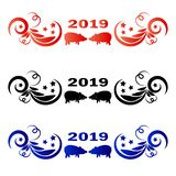 Pattern with piglets in the center vector illustration