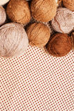 Pattern with pile of brown yarn Stock Photography