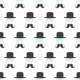 Pattern with pince-nez, mustache and hat Stock Photo