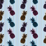 Pattern with pineapples on blue stripes, summer fresh background. On stripes Stock Image