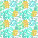 Pattern with pineapples and palm leaves. Vector seamless pattern with pineapple and palm leaves, seamless tropical wrapping paper, summer design vector illustration