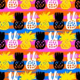 Pattern with pineapples Royalty Free Stock Image