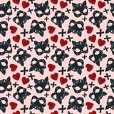 Pattern with a pink background and a picture of a cat`s skin mask Stock Photo