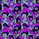 Pattern with pink and blue tropical flowers stock photography