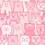 Pattern pink cats Stock Photo