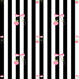 Pattern pink cherry sweet & cool. Seamless pattern pink cherry & black - white stripe for fabric, clothing textile Stock Illustration