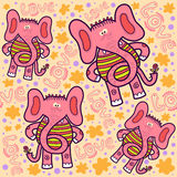 Pattern with pink elephants Stock Images
