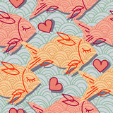 Pattern with pink fish and heart Royalty Free Stock Image
