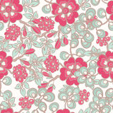 Pattern with pink flowers - 2 Stock Images