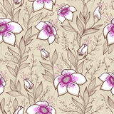 Pattern with pink flowers Royalty Free Stock Photos