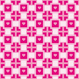 Pattern with pink geometric shapes and hearts Royalty Free Stock Photo