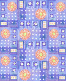 Pattern with pink gerbera, hearts and polka dots. Stock Image