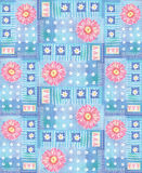 Pattern with pink gerbera, hearts and polka dots. Royalty Free Stock Images