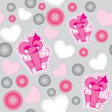 Pattern with pink gift boxes Stock Photo
