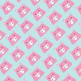 Pattern of pink head pig on blue background vector illustration