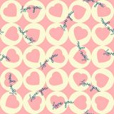 Pattern of pink hearts in the yellow circles. Seamless pattern of pink hearts in the yellow circles Stock Image