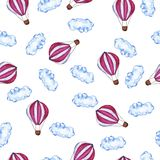 Pattern with pink hot air a stock illustration