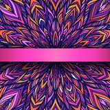 Pattern with pink Mandalas and ribbon. Vector ornaments, background. Feathers, petals and lace Royalty Free Stock Image