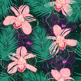 Pattern with pink orchids Royalty Free Stock Photo