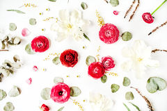 Pattern with pink and red roses or ranunculus, white tulips and green leaves Stock Photo