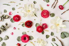 Pattern with pink and red roses or ranunculus Stock Photography