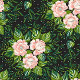 Pattern with of pink roses on black background. Stock Photos