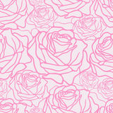 Pattern with pink roses. Vector seamless pattern with pink roses on white background Royalty Free Stock Photography