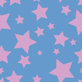 pattern with pink stars on blue background Stock Photos