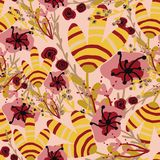 Pattern with pink and yellow tropical flowers royalty free illustration