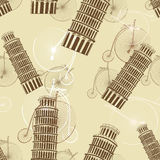 Pattern with the Pisa Tower and bicycles Stock Images