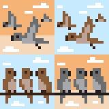 Pattern pixel art bird fly. Vector pattern illustration pixel art bird fly Stock Illustration