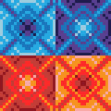 Pattern pixel art blue red Stock Images