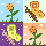 Pattern pixel art butterfly flower. Vector pattern illustration pixel art butterfly flower Stock Illustration