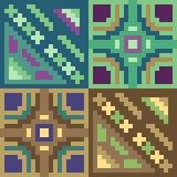 Pattern pixel art green brown Stock Photo