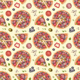 Pattern with pizza illustrations Royalty Free Stock Photo