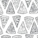 Pattern pizza slices hand drawing in doodle style isolated on white background. Doodle pattern drawing cut pizza top. View. Italian cuisine and pizzeria design royalty free stock photos