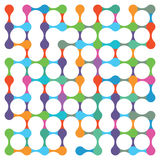 Pattern plan. Abstract background with small white circles some isolated and some connected together with pink, purple, blue, green, orange and yellow areas Stock Image