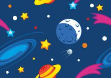 Pattern with planets and stars Stock Photography