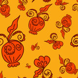 Pattern of plant elements orange background. Seamless pattern of plant elements Strong-orange background. It can be used for printing on packaging, bags, cups Royalty Free Stock Images