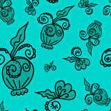 Pattern of plant elements turquoise background. Seamless pattern of plant elements turquoise background. It can be used for printing on packaging, bags, cups Stock Photo